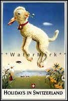 Switzerland 1949 Holidays Vintage Poster Print Happy Lamb Retro Style Travel Art