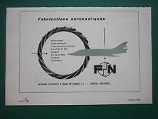 10/1960 PUB FN HERSTAL FABRICATIONS AERONAUTIQUES ORIGINAL FRENCH AD