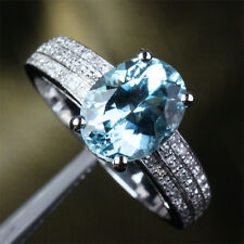 2.6ct Aquamarine .37ct Diamonds Real 14K White Gold Engagement Wedding Band Ring