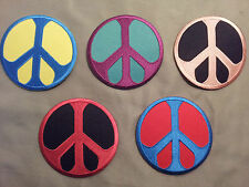 peace sign embroidered patch 5 colors to choose.