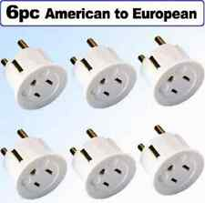 American to European Schuko Outlet Adapter Plug Power Grounded Heavy Duty 6-Pack