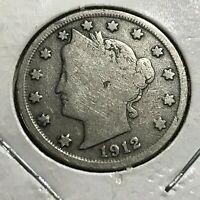 1912-S LIBERTY NICKEL RARE DATE COIN PARTIAL LIBERTY