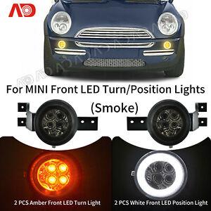 For Mini Cooper R50 R52 R53 02-08 Smoked LED Turn Signal Light Parking Lamp 2pcs