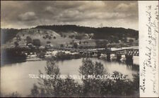 Prairie Du Sac WI Toll Bridge & Round Bluff c1905 Real Photo Postcard