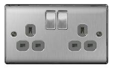 5 x BG Nexus Metal NBS22G - STAINLESS STEEL Double Plug Socket 2 Gang 13 Amp