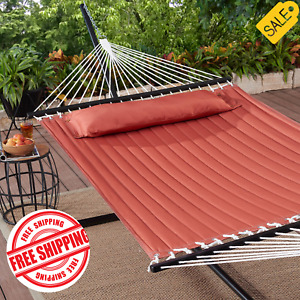 Camping Double Hammock Swing with Pillow Outdoor 2 Person Heavyduty Spreader Bar