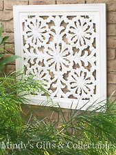 76cm Square Rustic White Distressed Wood Carved Wall Art Wall Hanging Garden Art