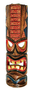 TIKI Mask Wooden Wall Plaque 50cm Hand Carved Painted SURFER/ MAORI STYLE new