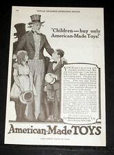 1919 OLD MAGAZINE PRINT AD, TOY MANUFACTURERS, CHILDREN, BUY AMERICAN MADE TOYS!