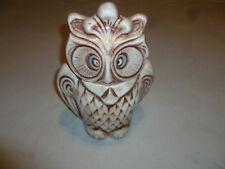 VINTAGE OWL CERAMIC COOKIE JAR RETRO WISE OLD 1960S BIRD ANTIQUE WHITE BROWN >>>