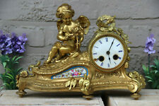 Antique French bronze putti angel Sevres porcelain plaque clock birds romantic