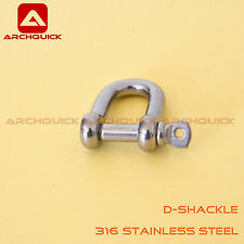 316 Stainless Steel D-Shackle For Shade Sail ,Tent Boat Camping Outdoor 8mm