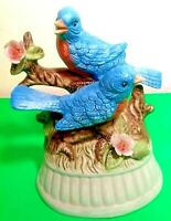 "BLUE BIRDS FIGURINE ☆ MUSICAL☆ 6""H PORCELAIN COLLECTIBLE ☆CHEERFUL☆LARA'S THEME"