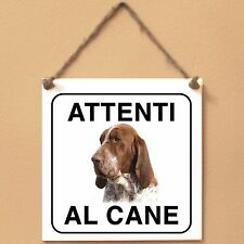 Bracco Italiano 2 Attenti al cane Targa piastrella cartello ceramic tile dog