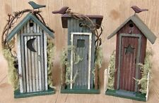 Rustic Outhouse Country Log Cabin Style Decor Primitive Wood Figurines Moon Star