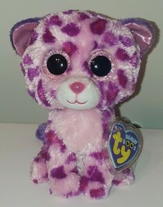 "Ty Beanie Boos - GLAMOUR the Leopard 6"" (Purple Tags/ Glitter Eyes) MWMT"
