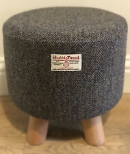 New Footstool made with Harris Tweed Fabric Brown/blue Herringbone HB61