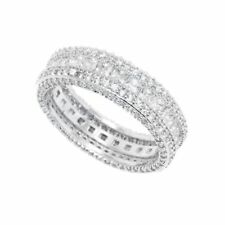 18K White Gold 7CTW French-Cut CZ Eternity Band