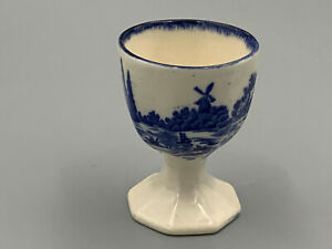 Royal Doulton Norfolk - Vintage Blue & White Hexagonal Footed Egg Cup.