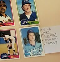 1976-82 Topps Baseball cards. LOT OF 73 (#B47). Poor - Good condition.