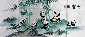 Handwoven Silk Chinese Embroidery - 10 Pandas (106 cm x 46 cm) #6
