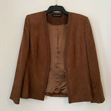 Jacques vert brown faux suede jacket UK size 14 Formal Lined padded Shoulders