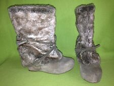 Brown Nubuck Miz Mooz Othello Wedge Boots with Faux Fur Tops 8