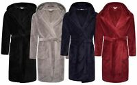Mens Loungeable Luxury Soft Coral Fleece Hooded Dressing Gown Wrap Robe