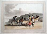 FISHERMEN, BOAT, FILEY, COSTUME OF YORKSHIRE, Walker original antique print 1814