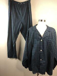 PURITAN Mens XL Plaid Pajamas Blue Green 2-Piece Top and Bottom