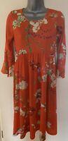 Bluebelle Orange Floral 3/4 Length Sleeve Maternity Dress Size 8