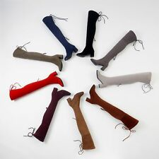 Women's Block Heel Elastic Suede Fabric Zip Over Knee Boots Round Toe Shoes O516