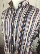 BUGATCHI UOMO Men's Multi Color Flip Cuff Striped Long Sleeve Shirt~Large