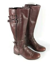 M & S Autograph Chestnut Brown Leather Knee High Boots Uk 4 Eu 37