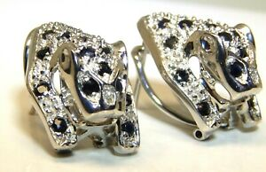 Silver Sapphire Earrings Real Diamond Panther Leopard Cat Ladies 925 Sterling