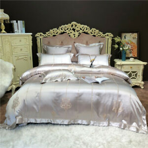 Bedding set 6 pcs Luxury Italian embroidery duvet cover flat sheet 2 pillowcases