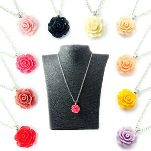 Vintage Carved Rose Flower Womens Ladies Necklace Silver Pendant Valentines Gift