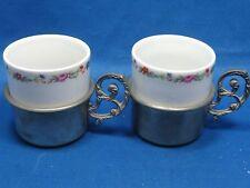 2 Antique German Engraved & Embossed Pewter w/Inside Porcelain Cups Rose Pattern