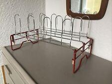 Vintage Mid Century Red Metal Foldable Shoe Rack/Storage #6280