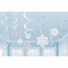 SNOWFLAKE SNOW FROZEN CHRISTMAS WINTER PARTY 12 PACK HANGING SWIRL DECORATIONS