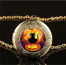 Halloween Cat Photo Cabochon Glass Gold Plating Locket Pendant Necklace