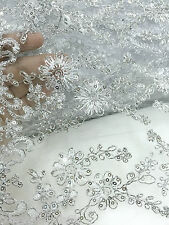 "SILVER FLORAL Embroidered Mesh Fabric 12""W BTY for Tablecloth Sabai Wedding Deco"