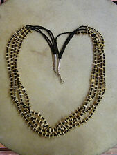Native Navajo American Indian Cream Shell Seed Bead Necklace Sterling Silver