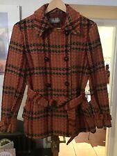 MaxMara Vintage Orange Check Wool Double-Breasted Jacket Size 14