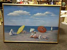 Beautiful Impressionist Style  Vintage Beach Scene  Painting-Signed