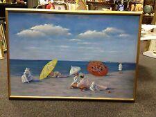 Beautiful Impressionist Style  Vintage Beach Scene  Painting-Signed