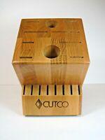 CUTCO 18 Slot Knife Block Oak Wood Finish Excellent