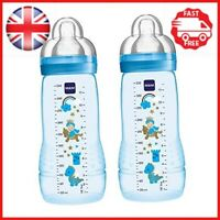 MAM Easy Active Baby Bottle, Fast Flow Twin Pack - 330 ml, Blue Designs May Vary