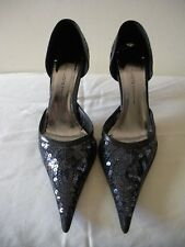 SEXY~! NWOB $375 MATILDA Black Sequin Leather Stiletto Pumps Shoes ITALY 36 6.5M