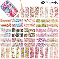48pcs Mixed Flowers Nail Art Decals Water Transfer Stickers Manicure Decoration
